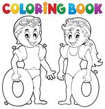 Coloring book boy and girl swimmers Stock Photography