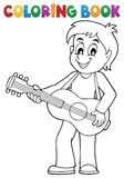 Coloring book boy guitar player theme 1 vector illustration