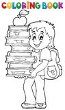 Coloring book with boy holding books Royalty Free Stock Photos