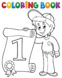 Coloring book boy holds certificate Stock Images