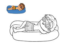 Coloring book, Boy and inflatable mattress. Coloring book for children, Boy and inflatable mattress Stock Image