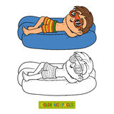 Coloring book. Boy on lying inflatable mattress. Coloring book for children. Little boy on lying inflatable mattress Stock Photography