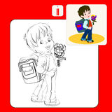Coloring book - boy. Coloring Book. Coloring book pages with cartoon vector illustration.Cute brown-haired boy with a satchel and a bunch of flowers his arm Stock Photography
