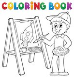 Coloring book boy painting on canvas. Eps10 vector illustration Royalty Free Stock Photo