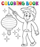 Coloring book boy with paper lantern. Eps10 vector illustration Stock Photo