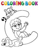 Coloring book boy and pets by letter C. Eps10 vector illustration stock illustration