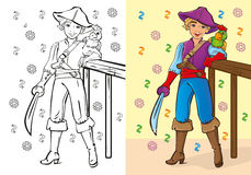 Coloring Book Of Boy In Pirate Costume Stock Images