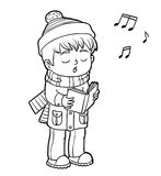 Coloring book, Boy singing a Christmas song Royalty Free Stock Images