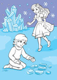 Coloring Book Of Boy Who Folded Ice Pieces Stock Photography
