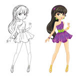 Coloring Book Of Brunette Girl Stock Images