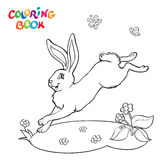 Coloring book with bunny, flower and butterfly. Royalty Free Stock Photos