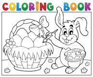 Free Coloring Book Bunny Painting Eggs Stock Image - 67464511
