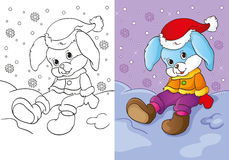 Coloring Book Of Bunny Sitting In The Snow. Vector illustration of cute bunny in santa hat sitting in the snow for coloring page for kids Stock Images