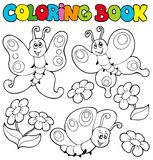 Coloring book with butterflies 1. Illustration Stock Photo
