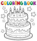 Coloring book cake with 5 candles Royalty Free Stock Photo