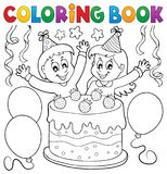 Coloring book cake and kids celebrating Stock Photo