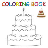 Coloring book - cake Stock Image