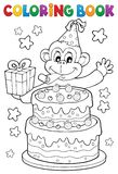 Coloring book cake and party monkey. Eps10 vector illustration Stock Photos