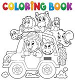 Coloring book car traveller theme 2 Royalty Free Stock Images