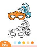 Coloring Book, Carnival Mask With Feathers Stock Image