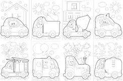 "Coloring book ""Cars"". The black-and-white illustrations of the funny cars with the animal characters Stock Photos"