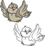 Coloring book. Cartoon bird. Vector illustration Stock Photos