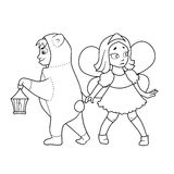 Coloring book with Cartoon of boy and girl Royalty Free Stock Photography