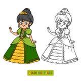 Coloring book, cartoon character, Princess Royalty Free Stock Photo