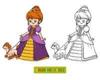 Coloring book, cartoon character, Princess with poodle. Coloring book for children, cartoon character, Princess with poodle stock illustration