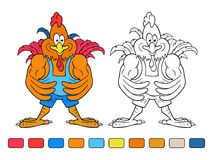Coloring book of cartoon cock bodybuilder Royalty Free Stock Photo