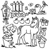 Coloring book, Cartoon farm animals Stock Photos