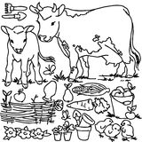 Coloring book, Cartoon farm animals. Horse, bird, vegetables, fruits, garden tools and decoration elements for kid drawing Royalty Free Stock Photography