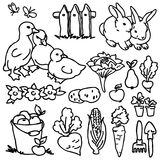 Coloring book, Cartoon farm animals Stock Photo