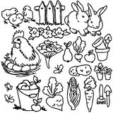 Coloring book, Cartoon farm animals. Horse, bird, vegetables, fruits, garden tools and decoration elements for kid drawing Stock Photography