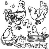 Coloring book, Cartoon farm animals Royalty Free Stock Image
