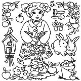 Coloring book, Cartoon farm girl and animals Stock Photo