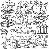 Coloring book, Cartoon farm girl and animals Stock Image