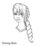 Coloring book with cartoon girl with braid and long hair and fri. Nge, illustration vector illustration