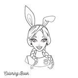 Coloring book with cartoon girl with bunny ears and braids Stock Photo