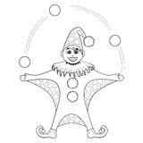 Coloring book. Cartoon of jester juggling balls Royalty Free Stock Photo