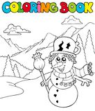Coloring book with cartoon snowman Royalty Free Stock Image