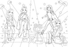 Coloring Book Casting Actresses At Movie Studio royalty free stock photo