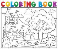 Coloring book castle and tree Royalty Free Stock Photography