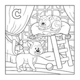 Coloring book (cat), colorless alphabet for children: letter C Royalty Free Stock Photos