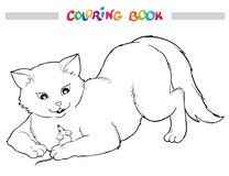 Coloring Book. Cat and mouse. Royalty Free Stock Photo