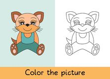 Coloring book. Cat, pet. Cartoon animall. Kids game. Color picture. Learning by playing. Task for children stock illustration