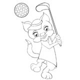 Coloring book  cat playing golf. Cartoon style. Royalty Free Stock Photos