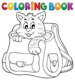 Coloring book cat in schoolbag Stock Images