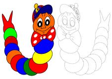 Coloring book-caterpillar. Beautiful colored caterpillar as a coloring for kids royalty free illustration