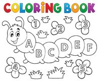 Coloring book caterpillar with letters Stock Photo